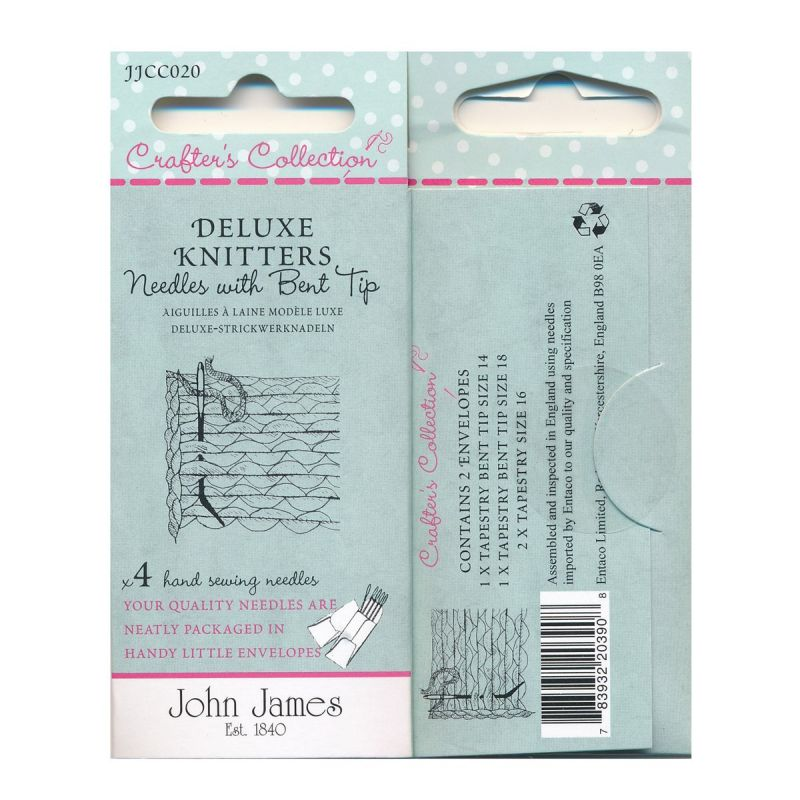 Deluxe Knitters Needles with Bent Tip 4 Hand Sewing Needles