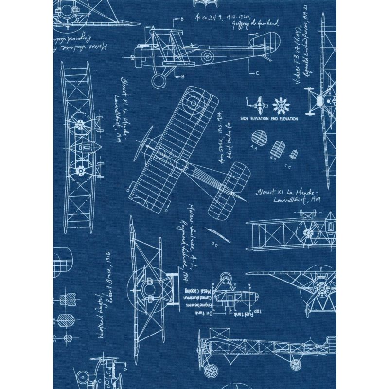 Vintage Blueprints Aeroplanes Indigo by Robert Kaufman - Studio 39