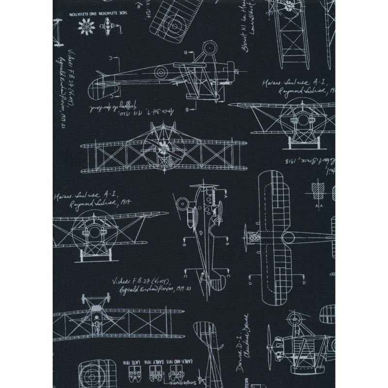 Vintage Blueprints Aeroplanes Black by Robert Kaufman - Studio 39