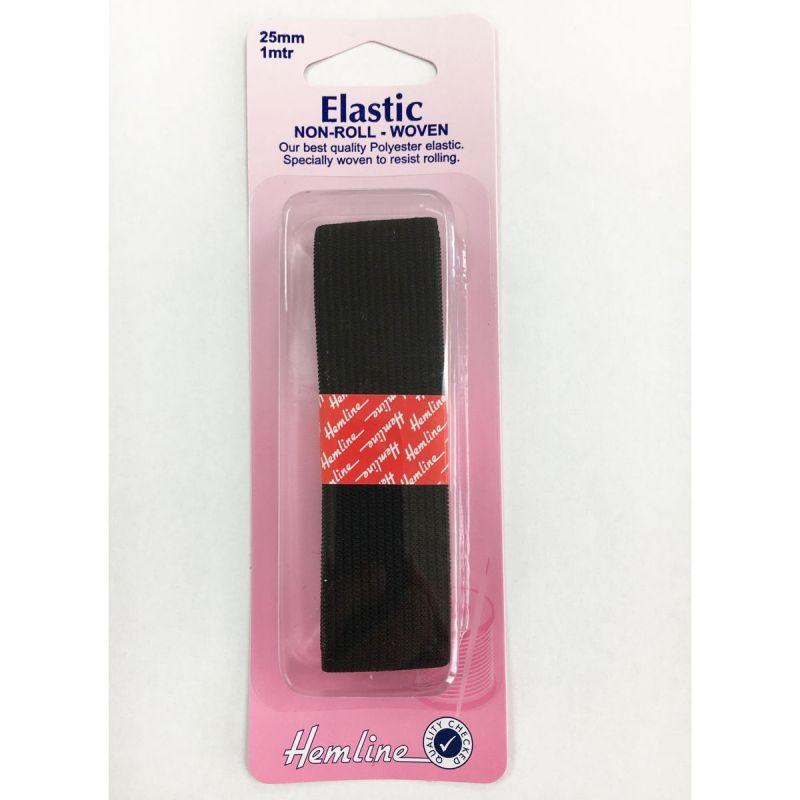 Elastic Non-Roll Woven Black 25mm x 1 mtr